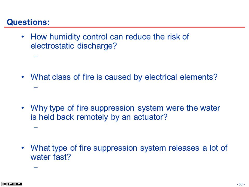 Questions: How humidity control can reduce the risk of electrostatic discharge What class of fire is caused by electrical elements