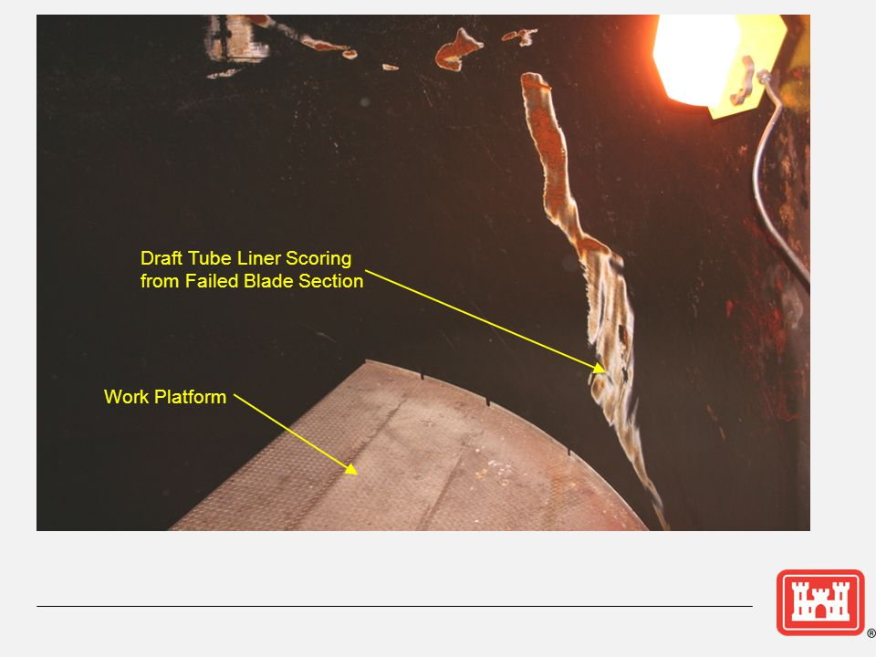 Draft Tube Liner Scoring from Failed Blade Section