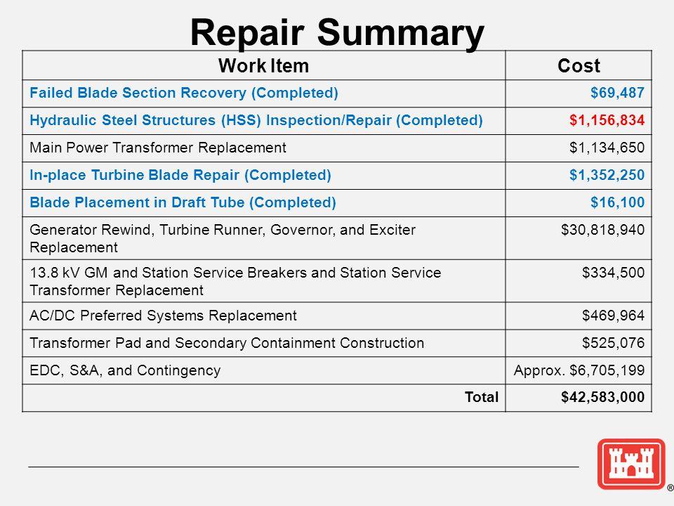 Repair Summary Work Item Cost