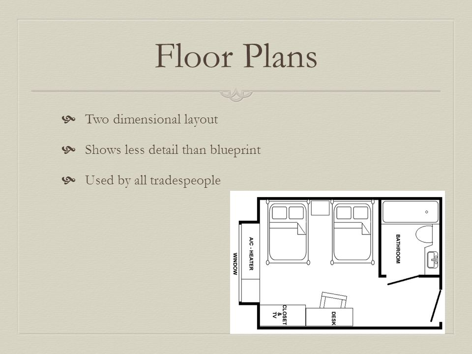 Floor Plans Two dimensional layout Shows less detail than blueprint