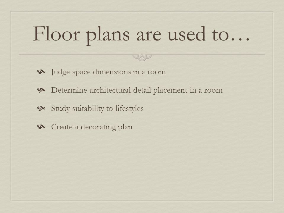 Floor plans are used to…