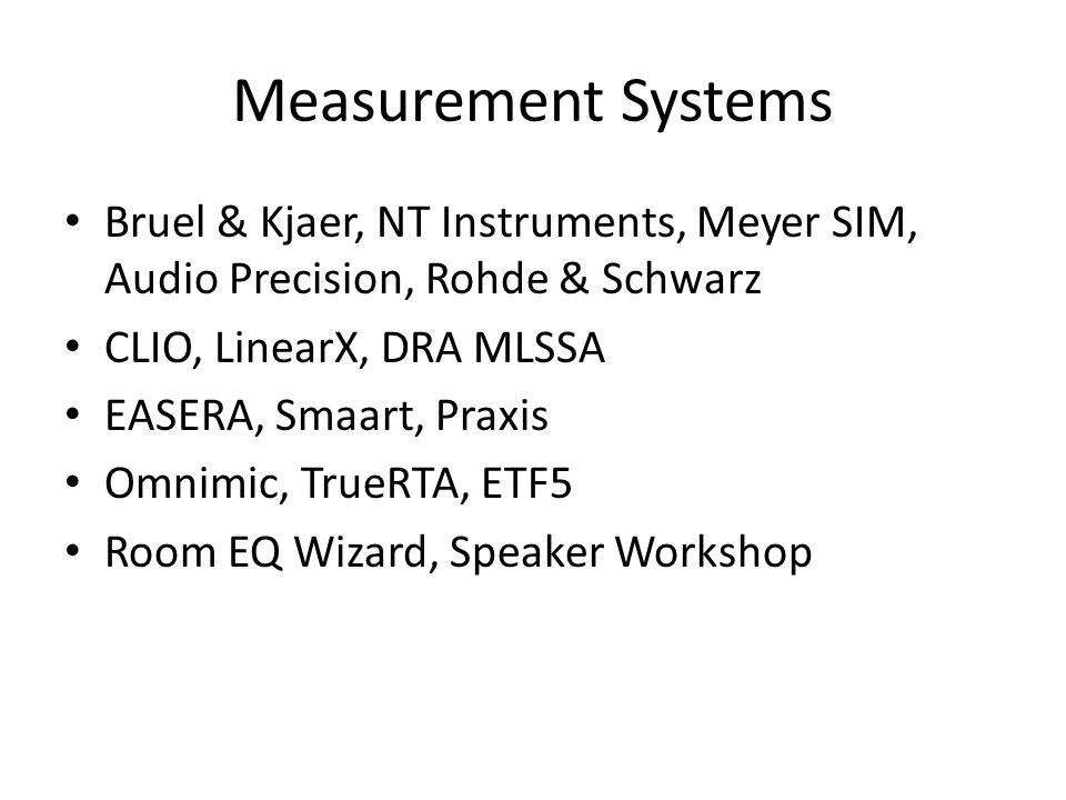 Measurement Systems Bruel & Kjaer, NT Instruments, Meyer SIM, Audio Precision, Rohde & Schwarz. CLIO, LinearX, DRA MLSSA.