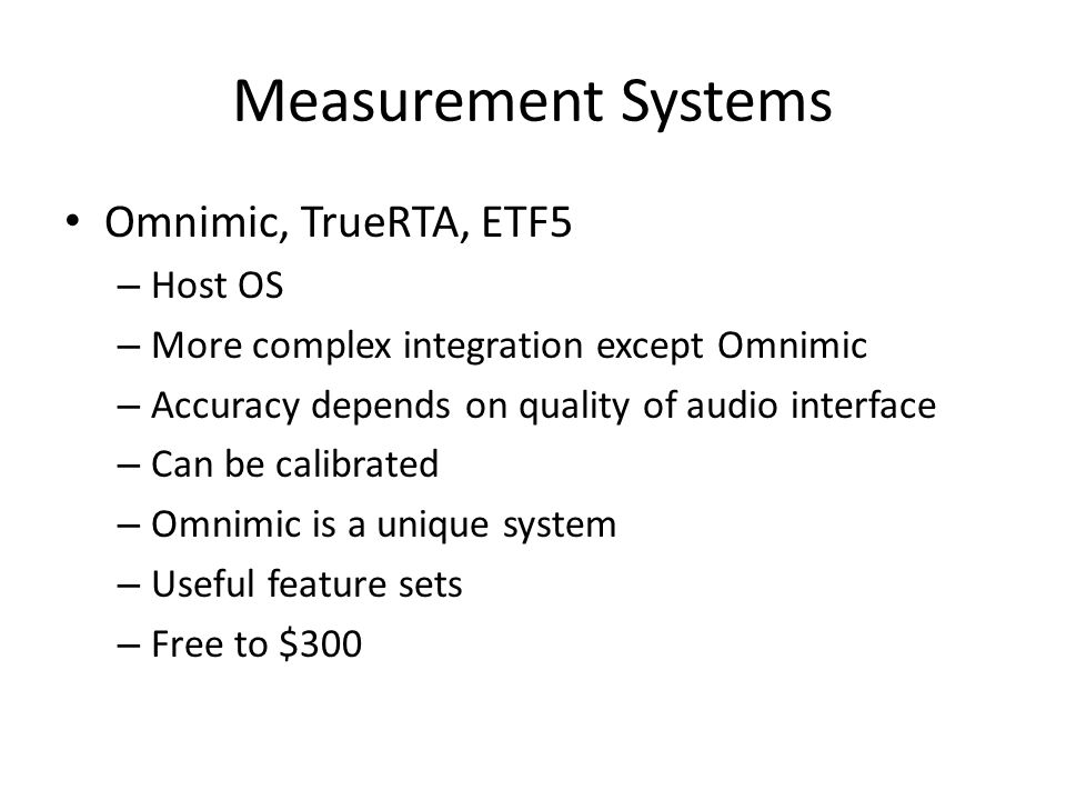 Measurement Systems Omnimic, TrueRTA, ETF5 Host OS