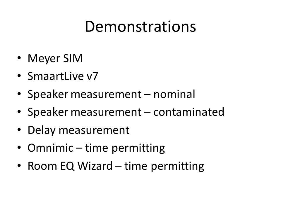 Demonstrations Meyer SIM SmaartLive v7 Speaker measurement – nominal