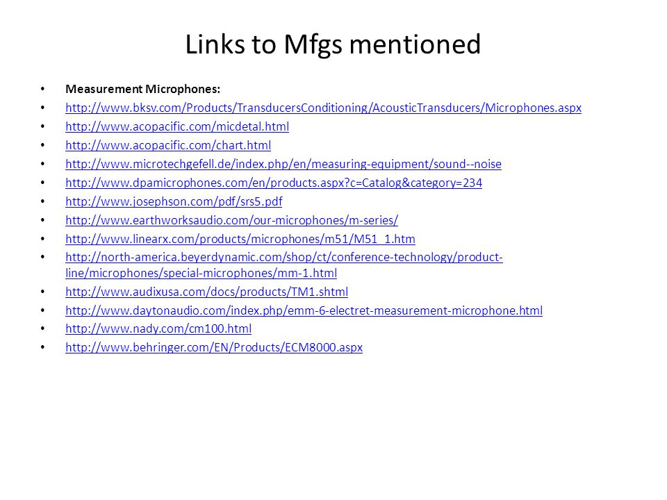 Links to Mfgs mentioned