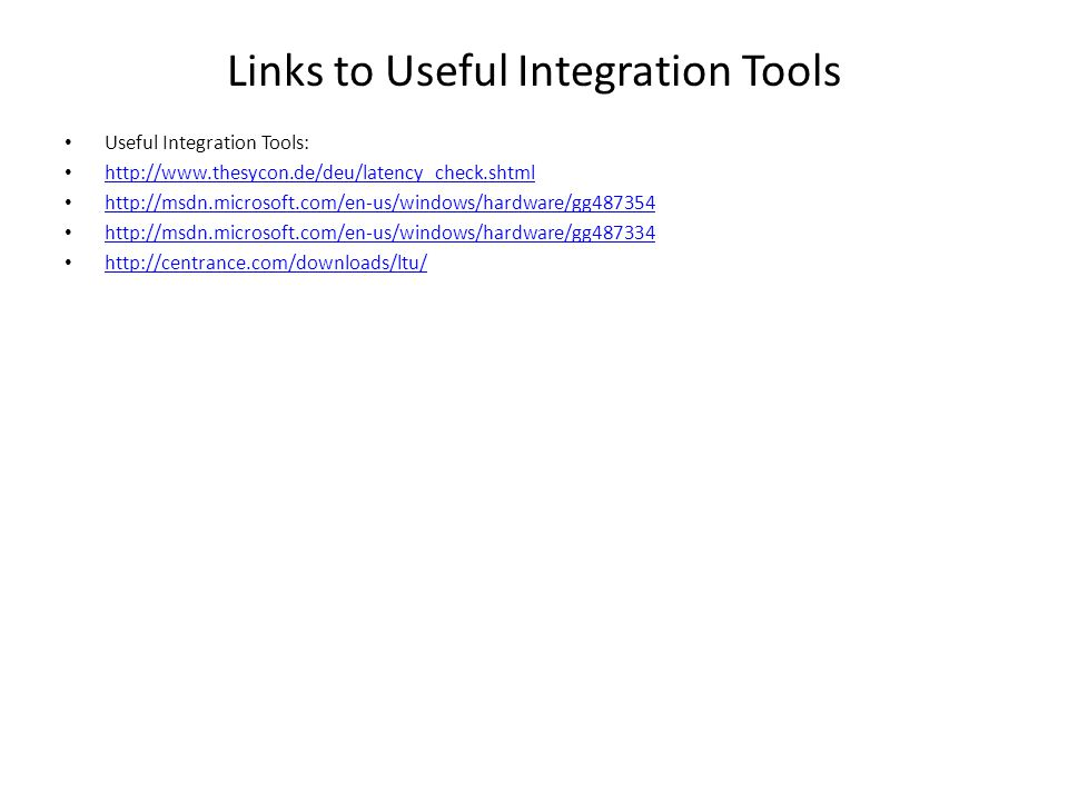 Links to Useful Integration Tools