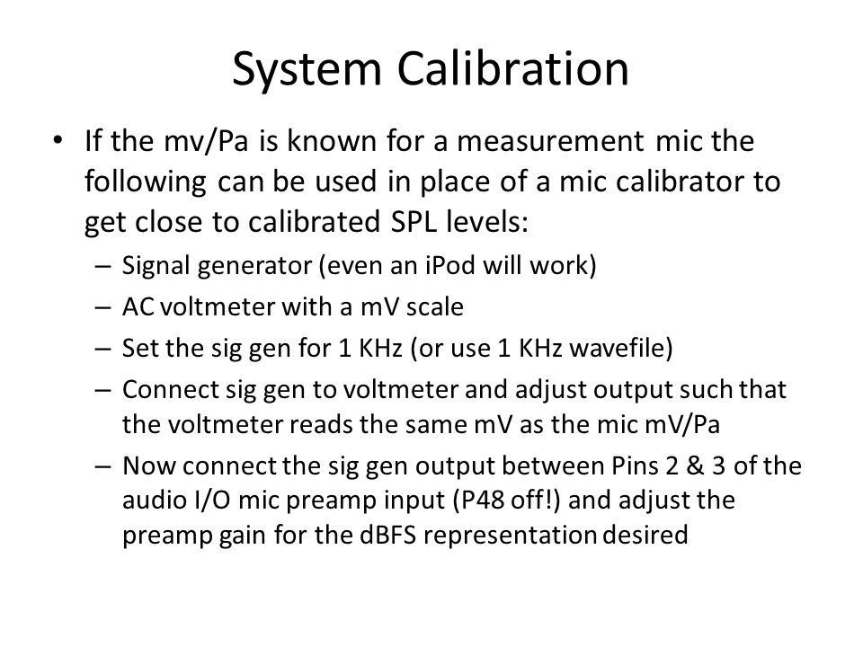 System Calibration