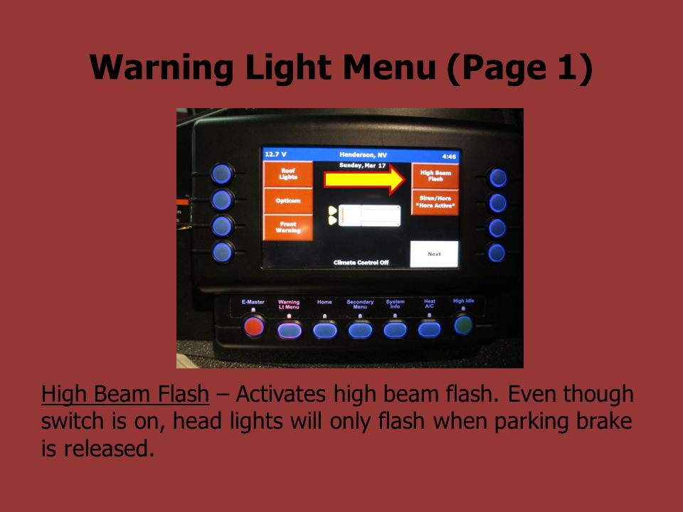 Warning Light Menu (Page 1)