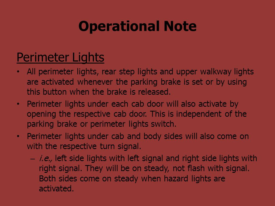 Operational Note Perimeter Lights