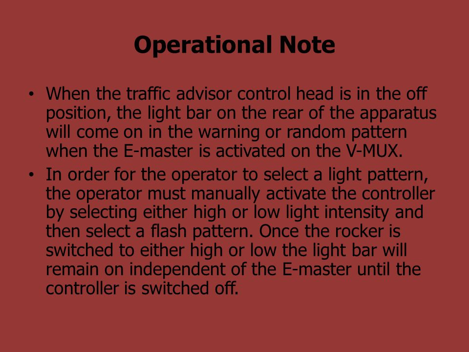 Operational Note
