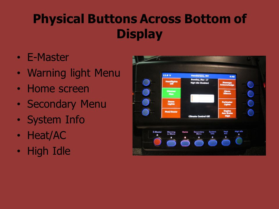 Physical Buttons Across Bottom of Display