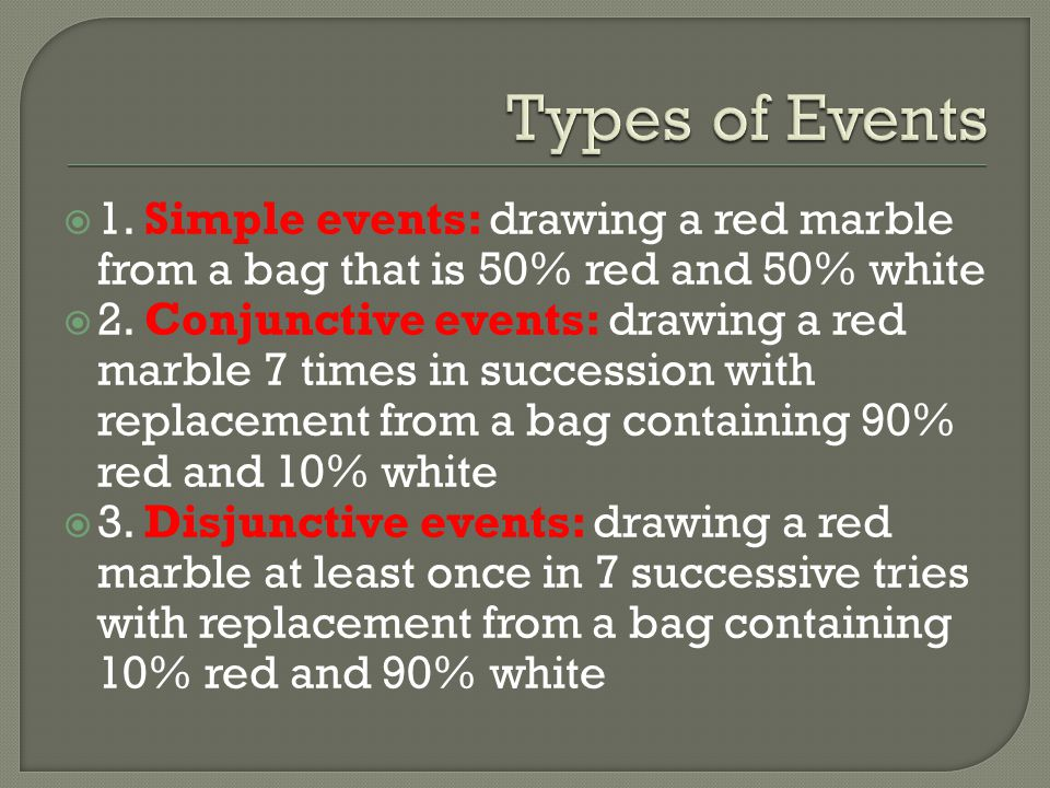 Types of Events 1. Simple events: drawing a red marble from a bag that is 50% red and 50% white.