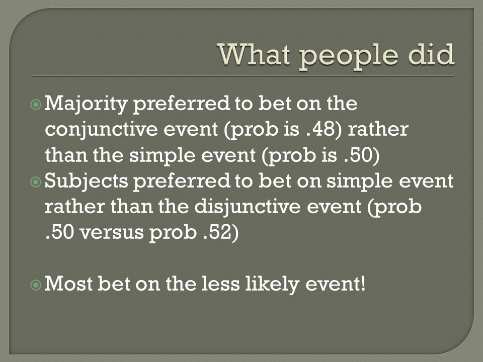 What people did Majority preferred to bet on the conjunctive event (prob is .48) rather than the simple event (prob is .50)