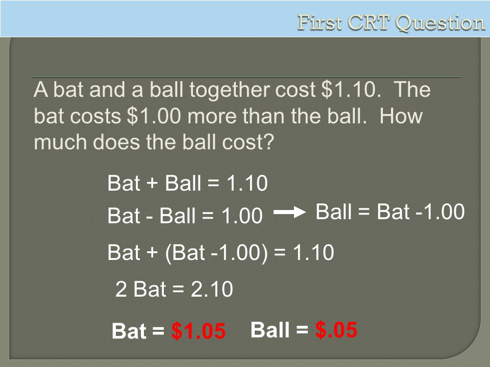First CRT Question A bat and a ball together cost $1.10. The bat costs $1.00 more than the ball. How much does the ball cost