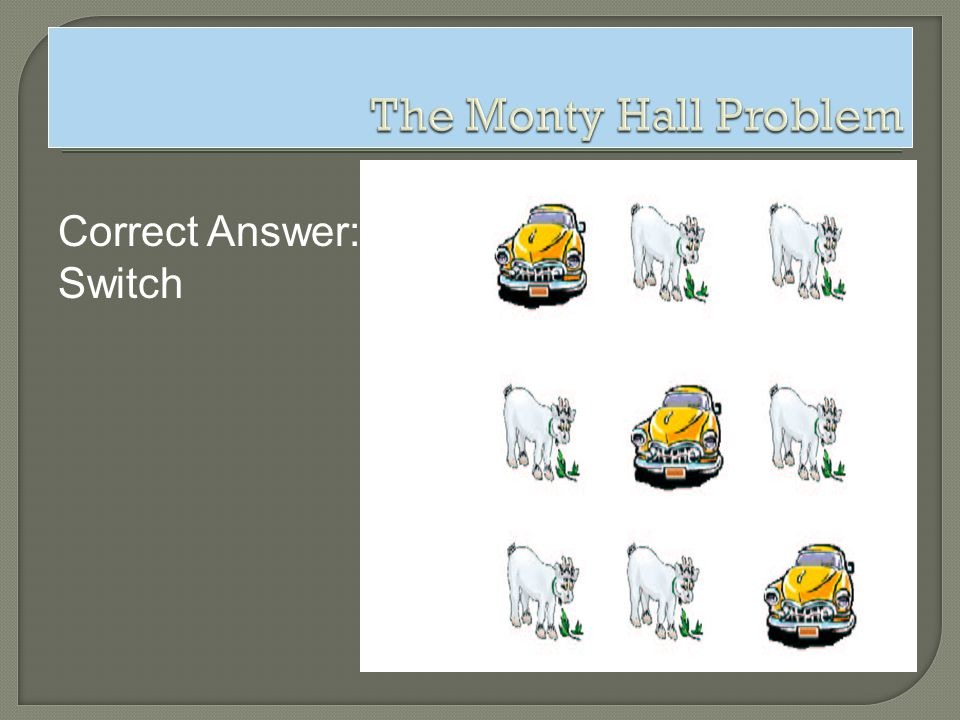 The Monty Hall Problem Correct Answer: Switch