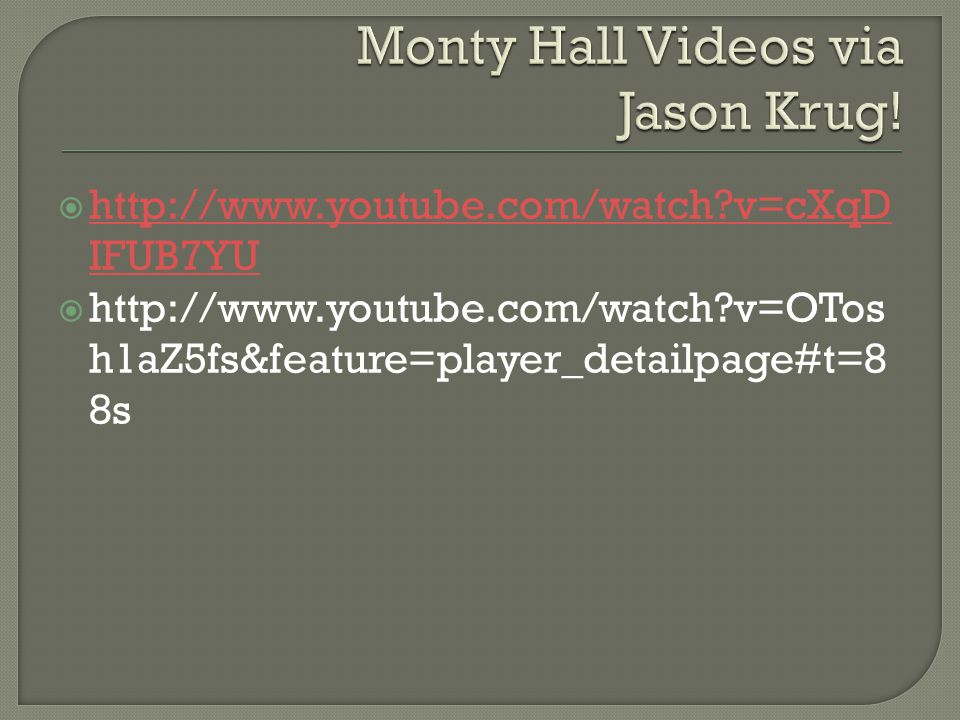 Monty Hall Videos via Jason Krug!