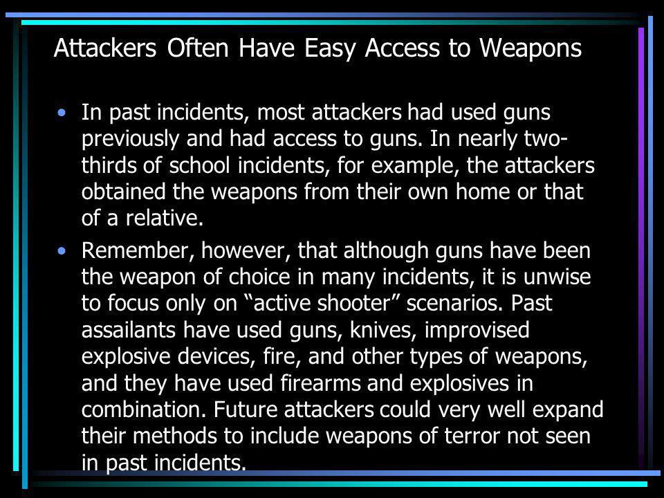Attackers Often Have Easy Access to Weapons