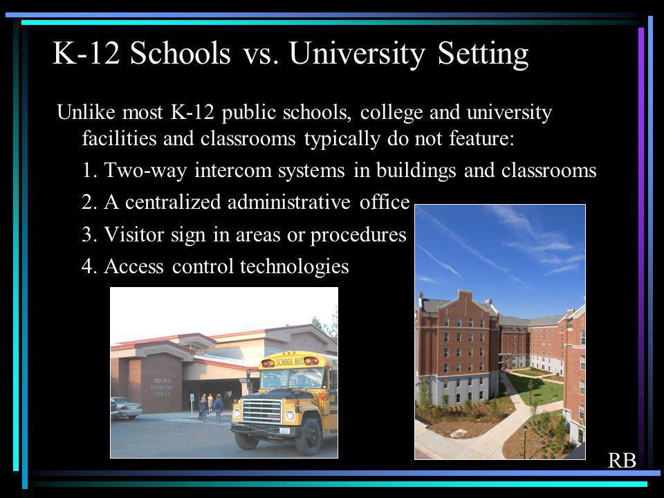 K-12 Schools vs. University Setting