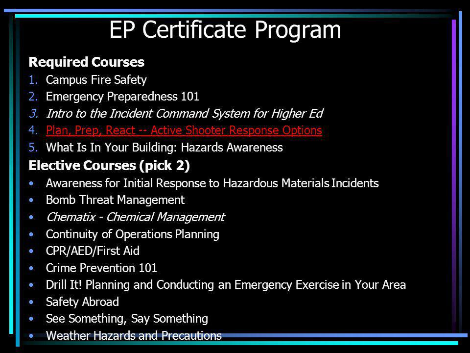 EP Certificate Program