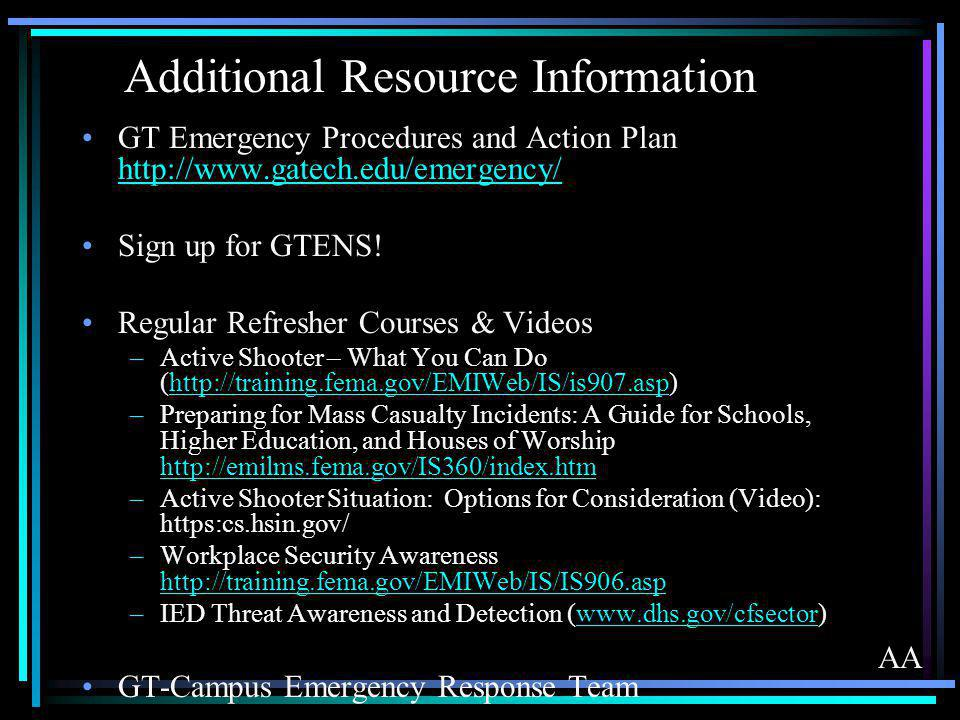 Additional Resource Information