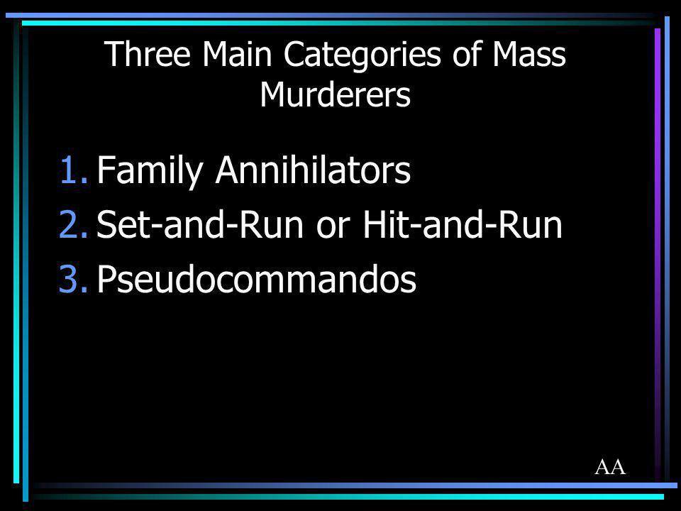 Three Main Categories of Mass Murderers