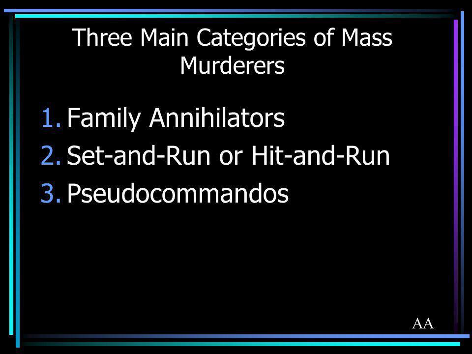 Three Main Categories of Mass Murderers