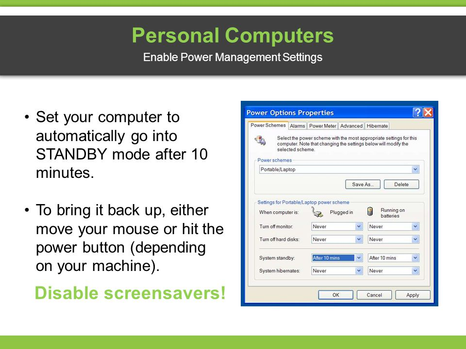 Enable Power Management Settings