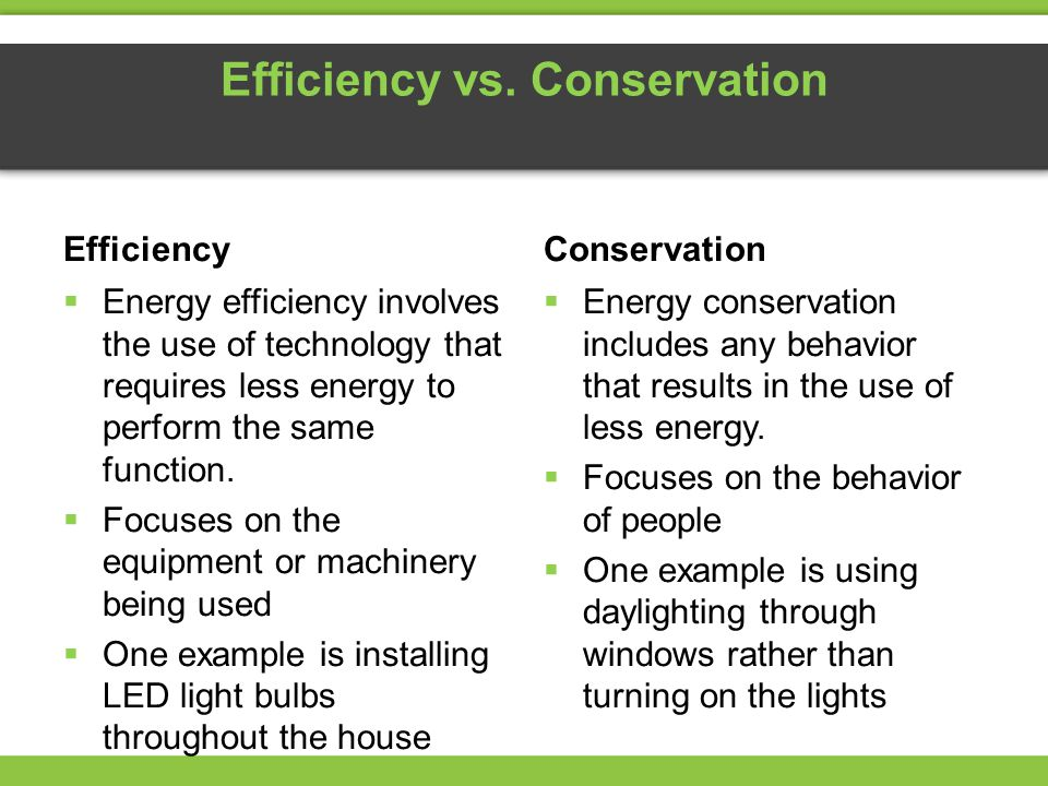 Efficiency vs. Conservation