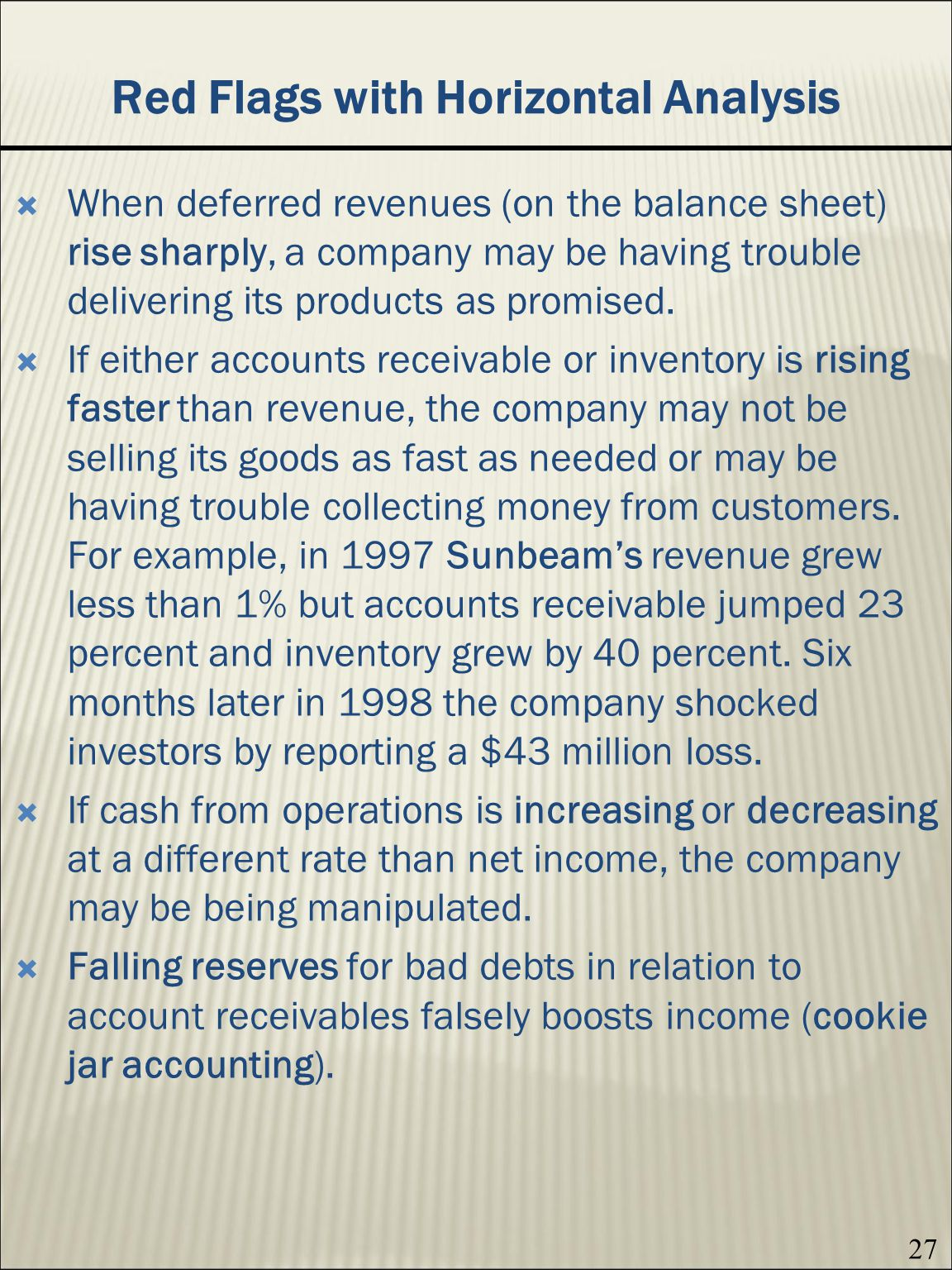 sunbeam accounting analysis Full-text paper (pdf): accounting fraud, business failure and creative auditing: a micro-analysis of the strange case of sunbeam corp.