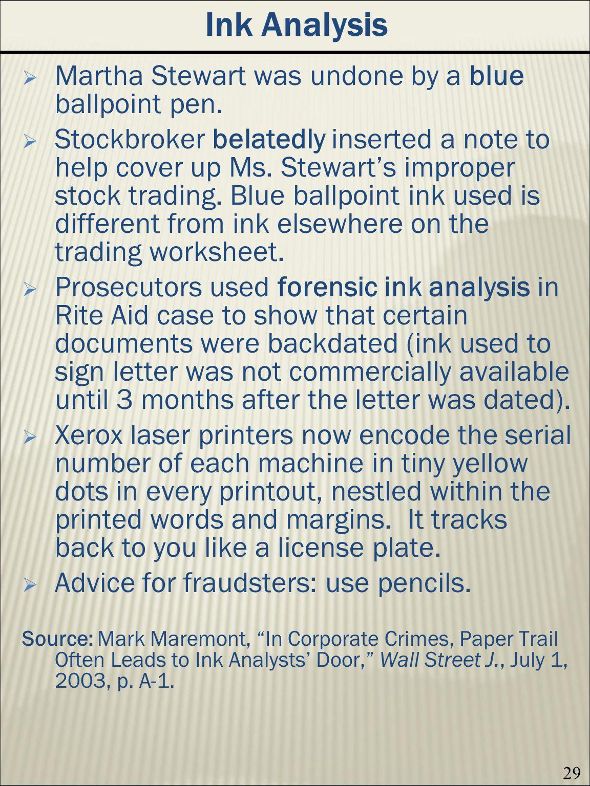 Ink Analysis Martha Stewart was undone by a blue ballpoint pen.