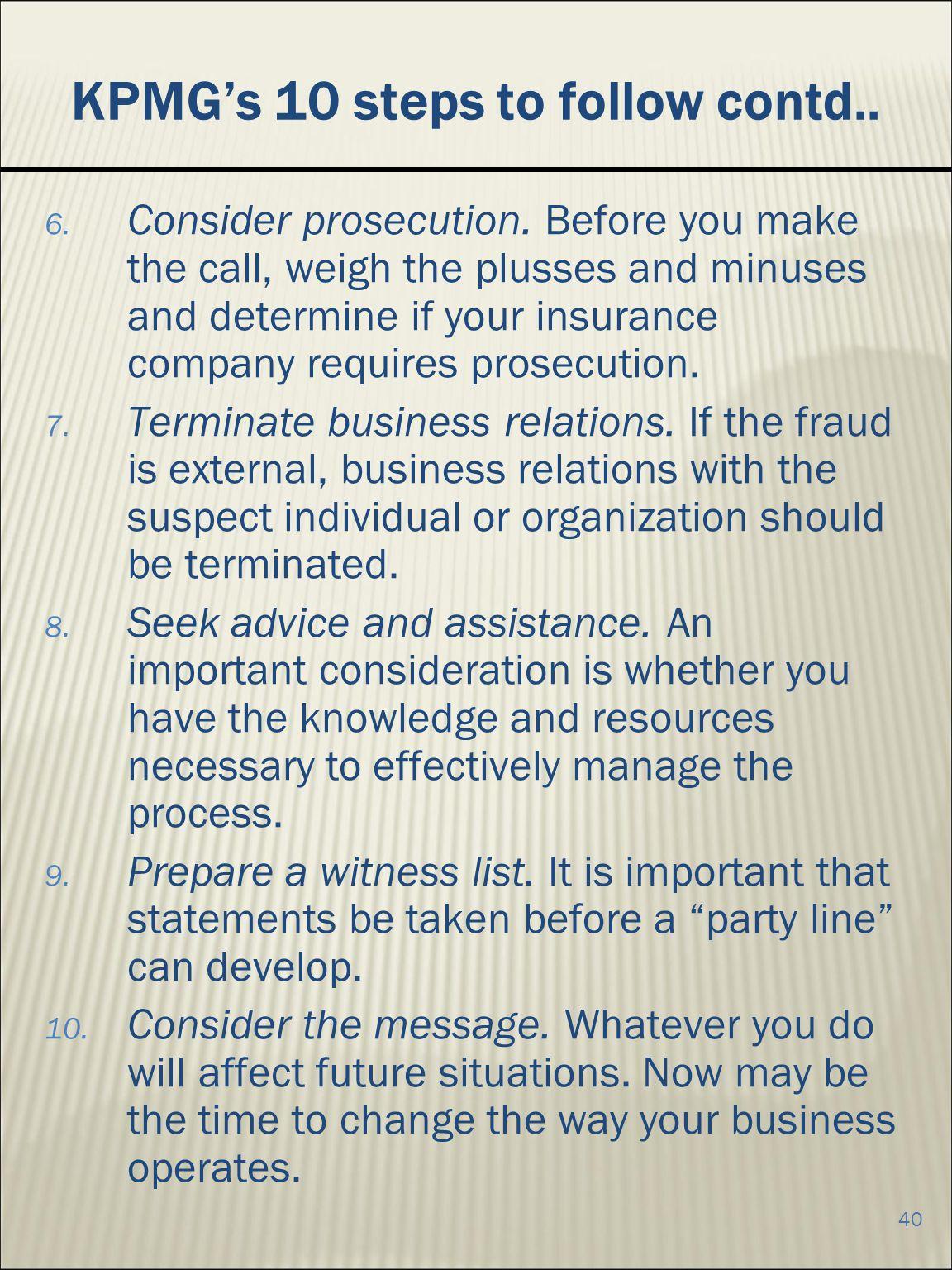 KPMG's 10 steps to follow contd..