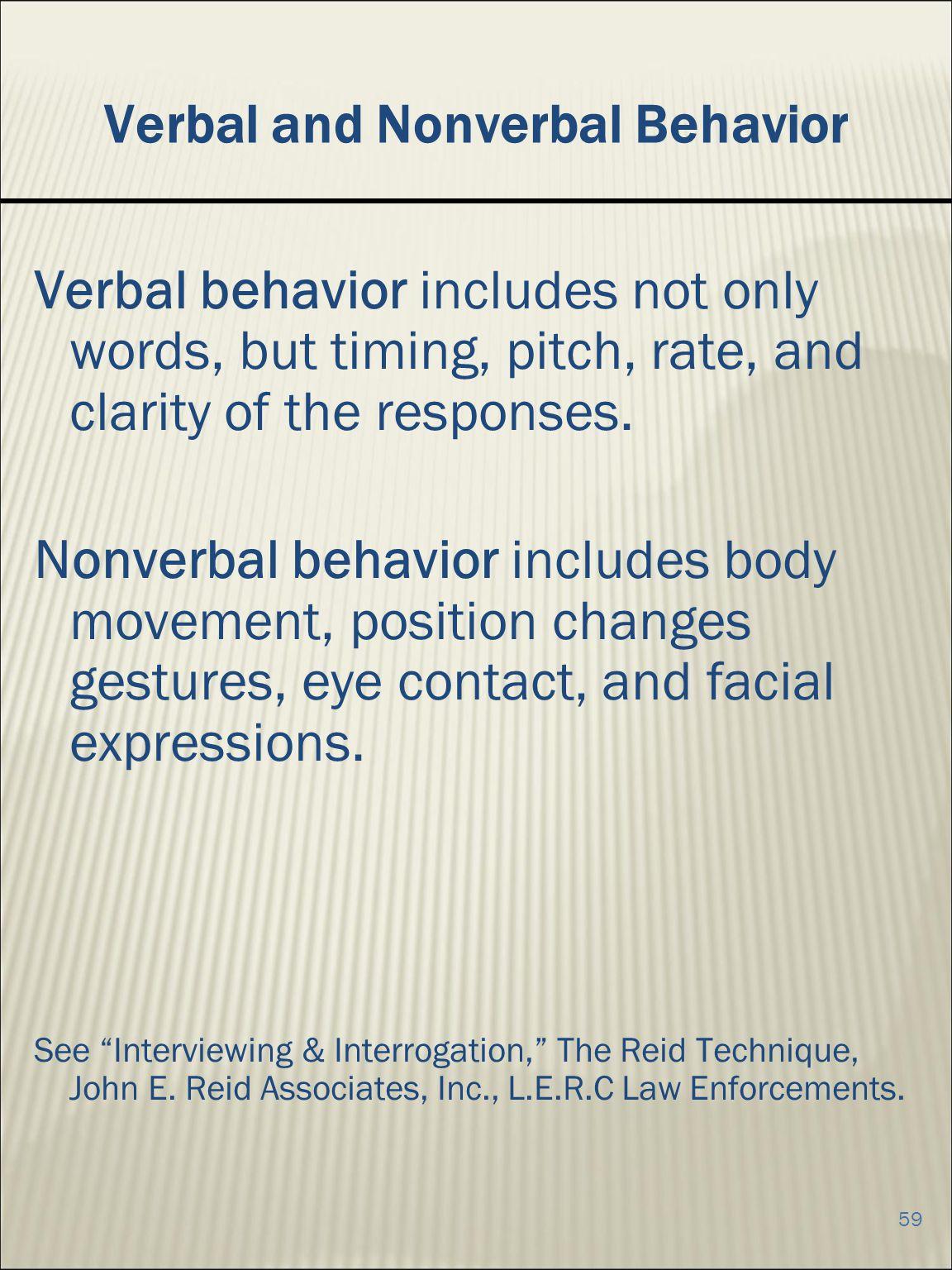 Verbal and Nonverbal Behavior