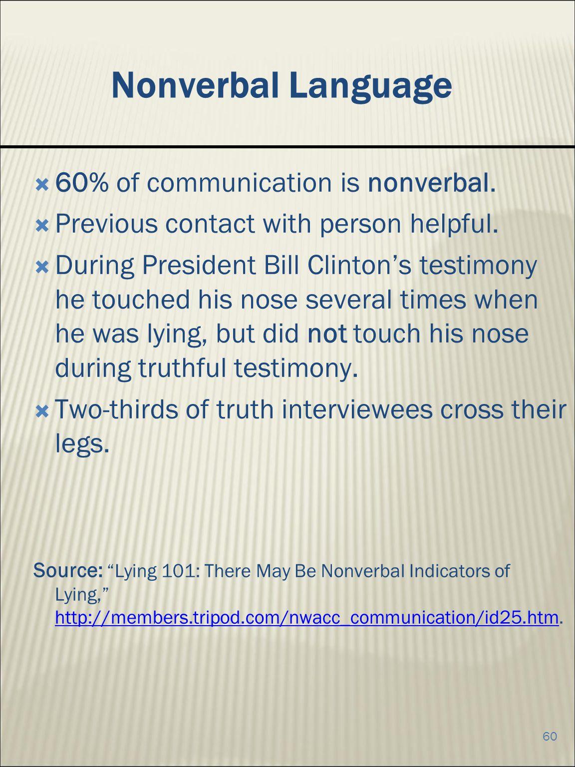 Nonverbal Language 60% of communication is nonverbal.