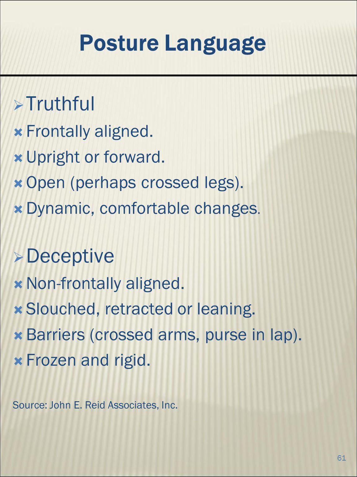 Posture Language Truthful Deceptive Frontally aligned.