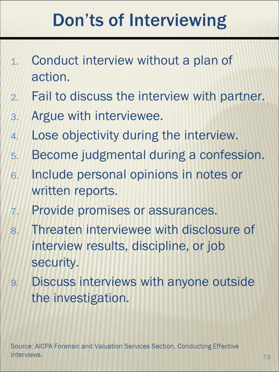 Don'ts of Interviewing