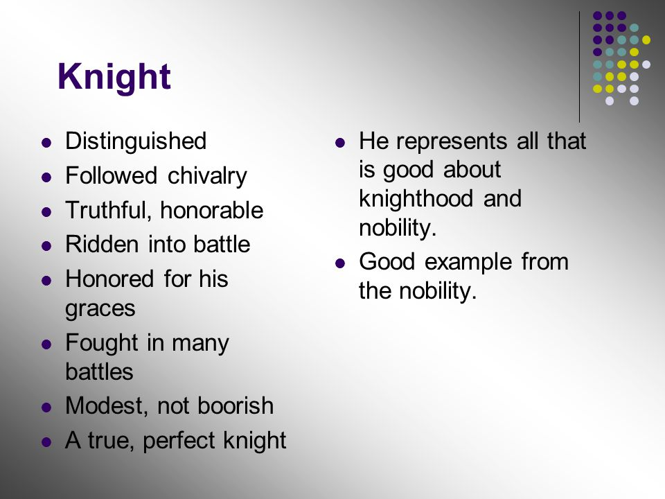 Knight Distinguished Followed chivalry Truthful, honorable