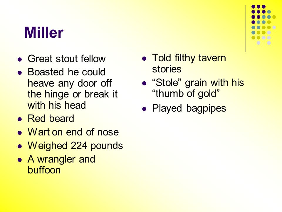 Miller Told filthy tavern stories