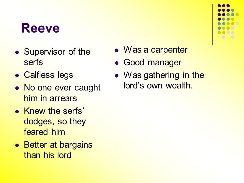 Reeve Was a carpenter Supervisor of the serfs Good manager