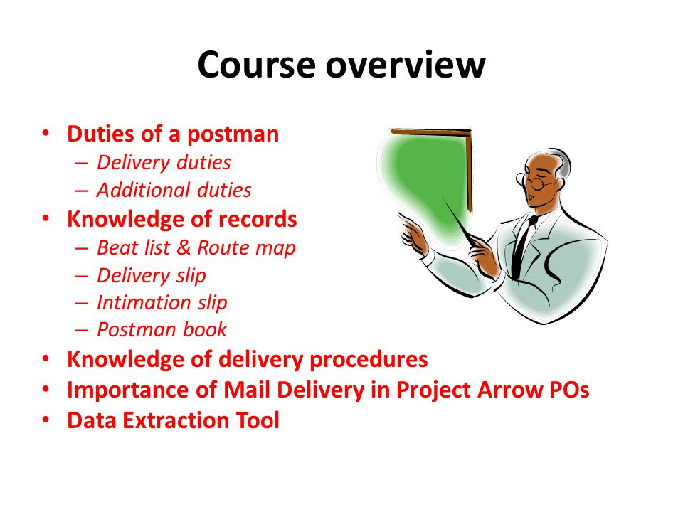 Course overview Duties of a postman Knowledge of records