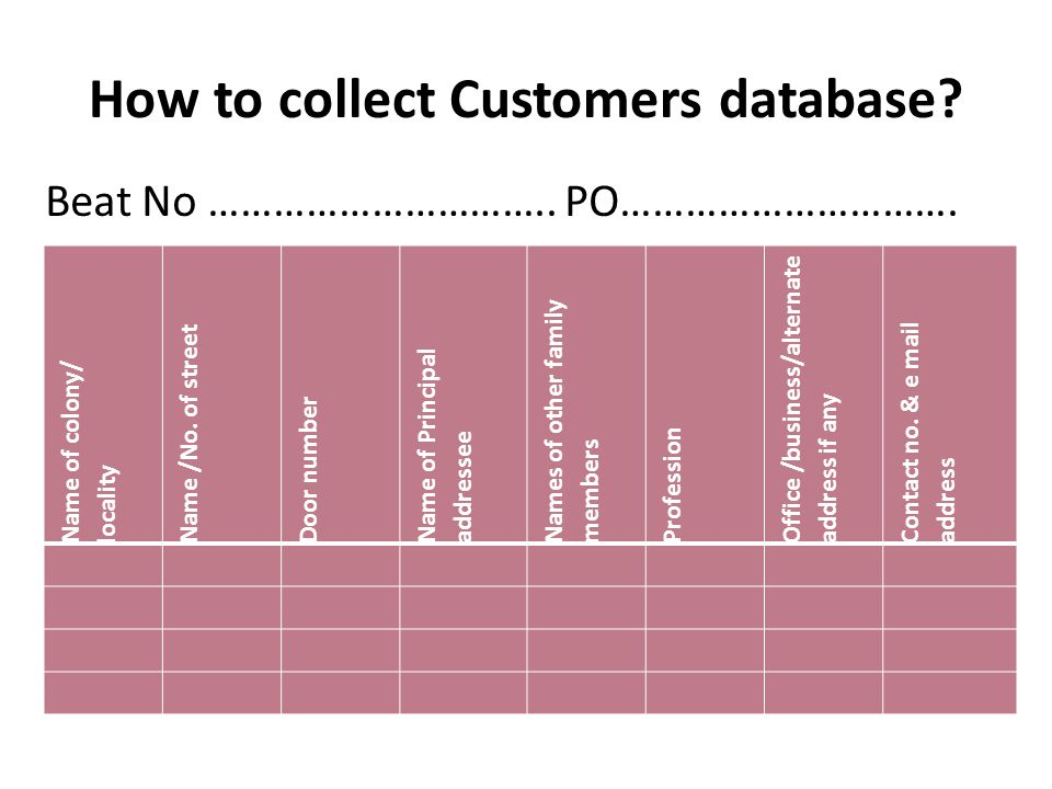 How to collect Customers database