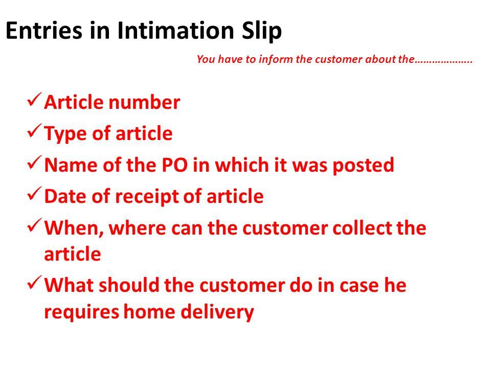 Entries in Intimation Slip