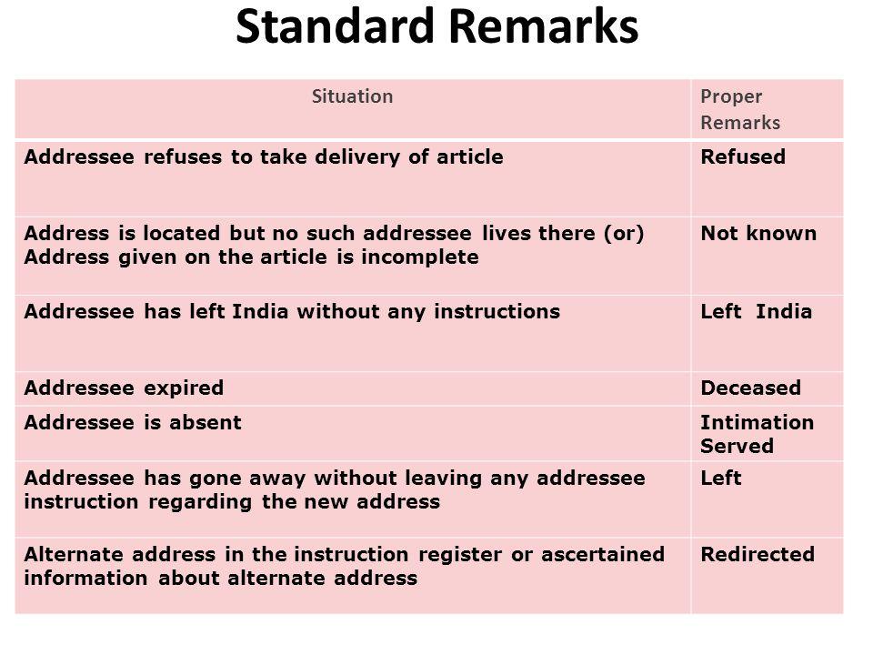 Standard Remarks Situation Proper Remarks