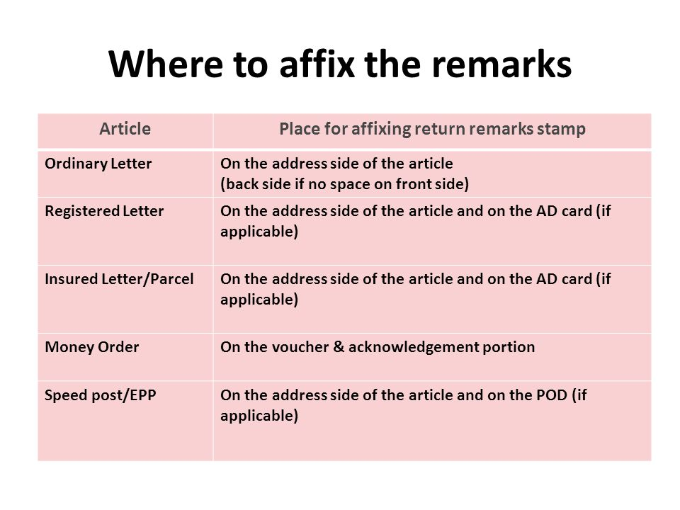 Where to affix the remarks