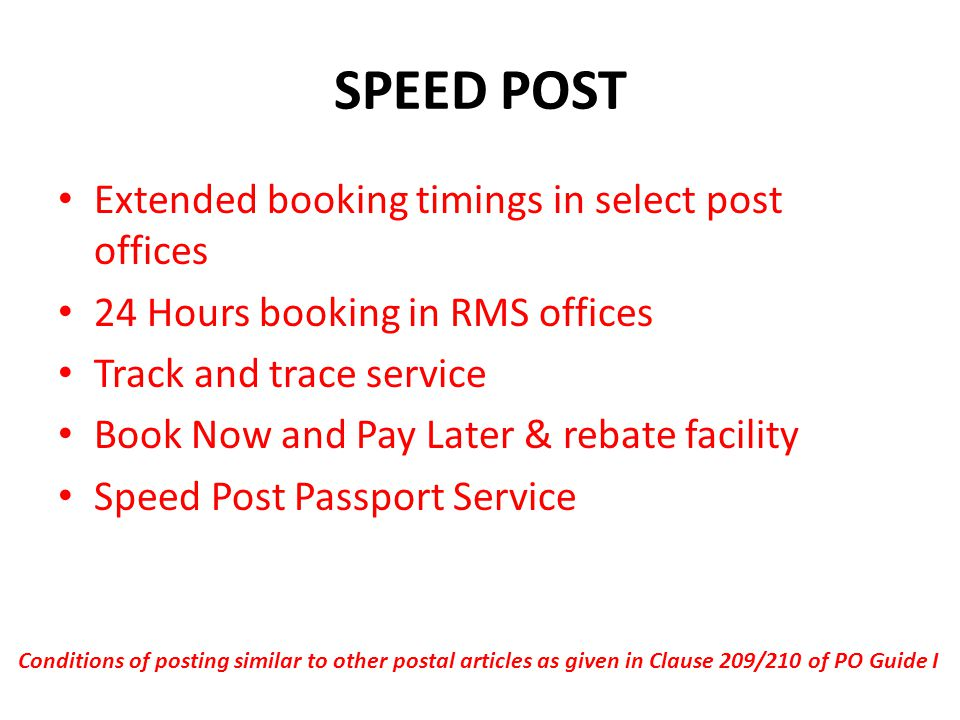 SPEED POST Extended booking timings in select post offices