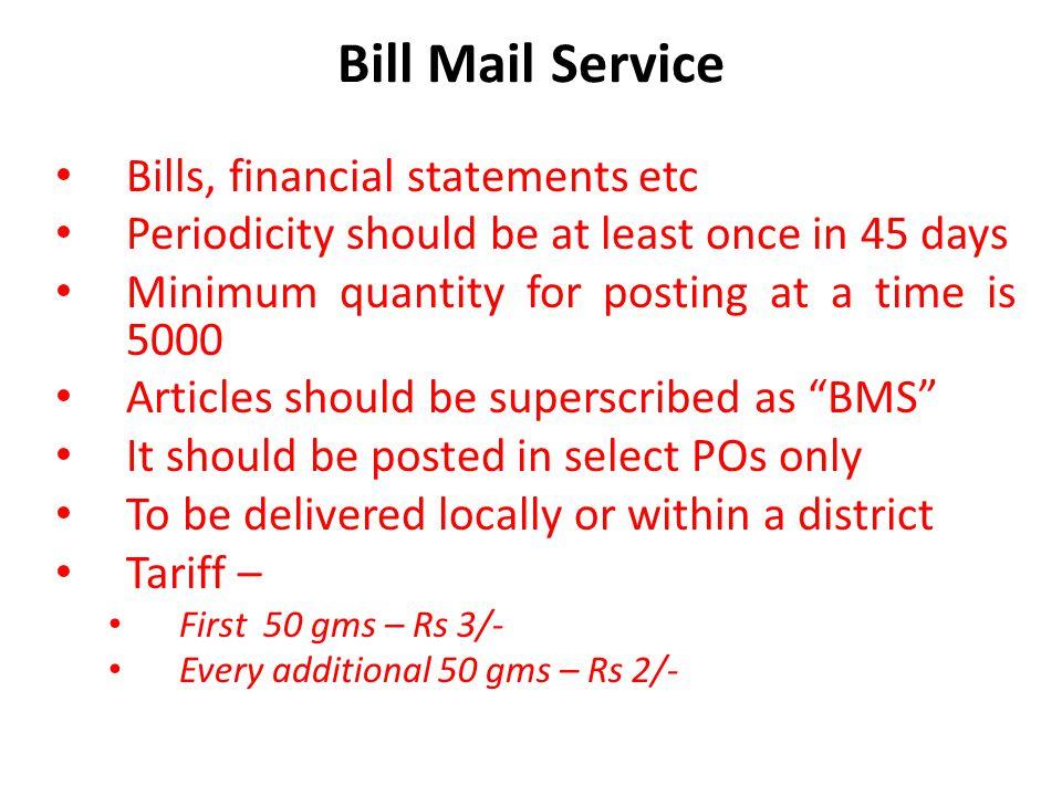 Bill Mail Service Bills, financial statements etc