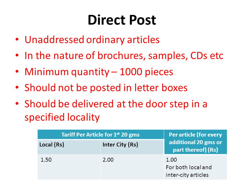 Direct Post Unaddressed ordinary articles