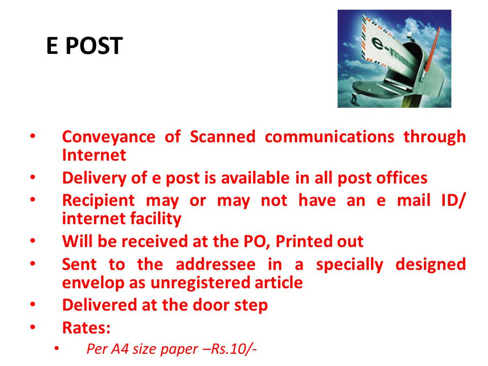 E POST Conveyance of Scanned communications through Internet