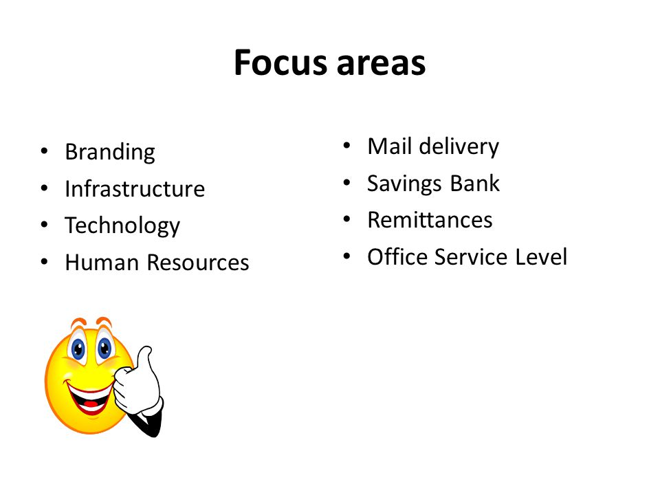 Focus areas Mail delivery Branding Savings Bank Infrastructure