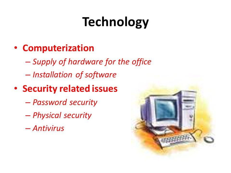 Technology Computerization Security related issues