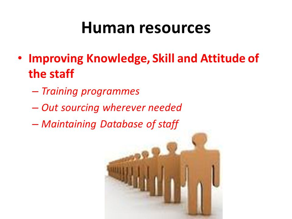 Human resources Improving Knowledge, Skill and Attitude of the staff